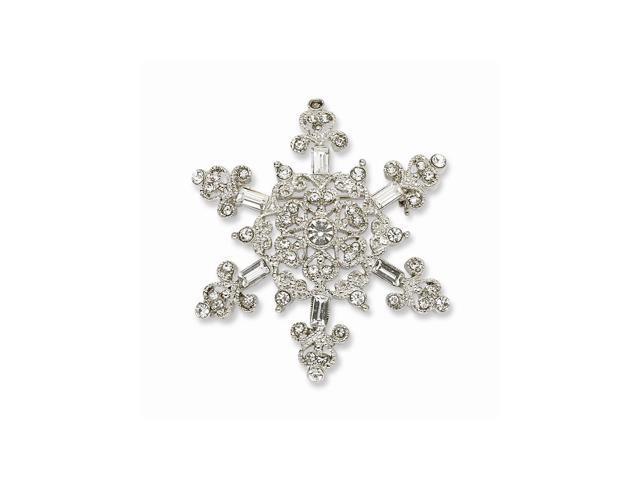 Silvertone Fancy Crystal Snowflake Pin