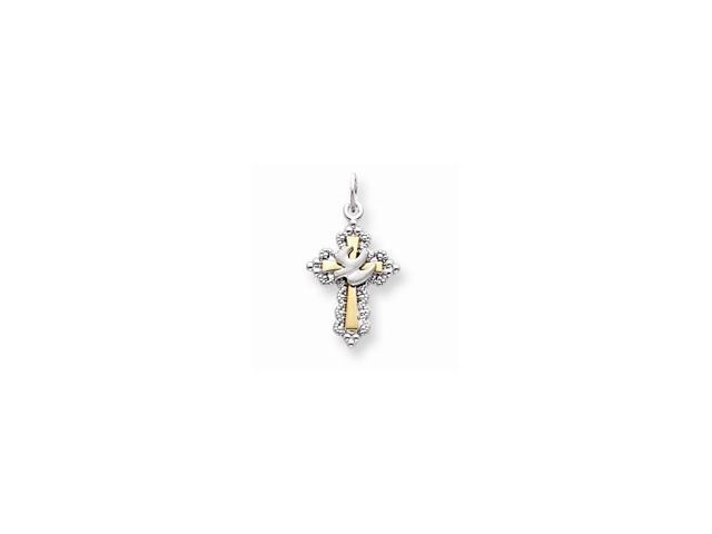 Sterling Silver Vermeil Dove Cross Charm (0.9IN long x 0.5IN wide)
