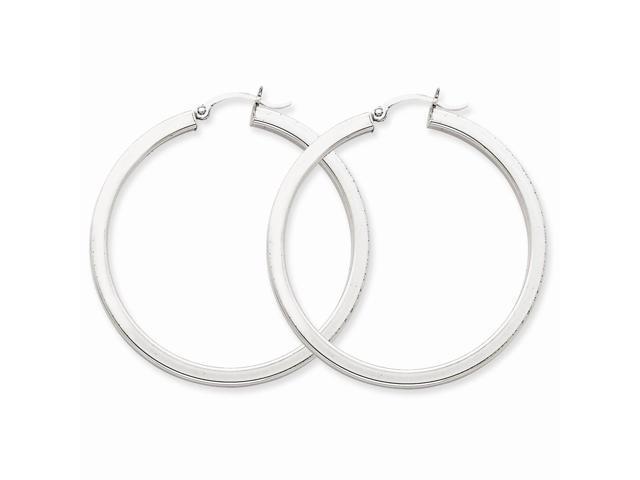 14k White Gold 3mm Polished Square Tube Hoop Earrings. 45mm Diameter.