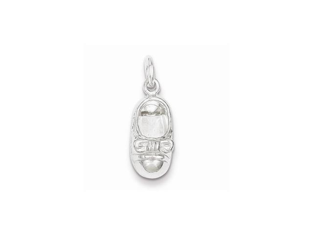 Sterling Silver Polished Baby Shoe Charm (0.9IN long x 0.4IN wide)