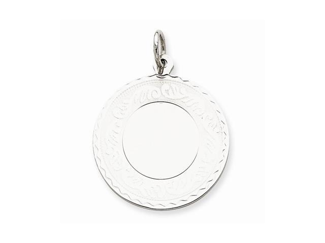 Sterling Silver Engravable Round with Scroll Disc Charm (1.2IN long x 1.1IN wide)
