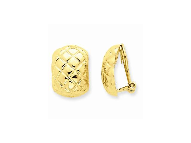 14k Yellow Gold Polished Quilted Non-pierced Omega Back Earrings (0.6IN x 0.4IN )