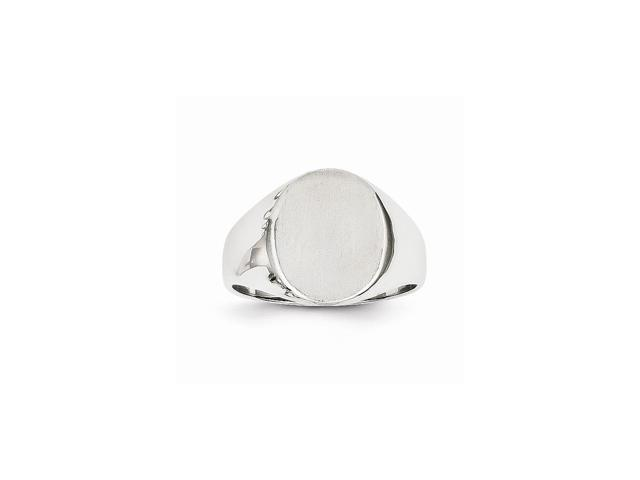 14k White Gold Engravable Signet Ring (13.6mm x 11mm face)