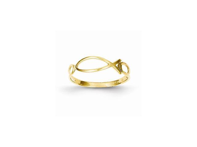 14k Yellow Gold Polished Ichthus Fish Ring