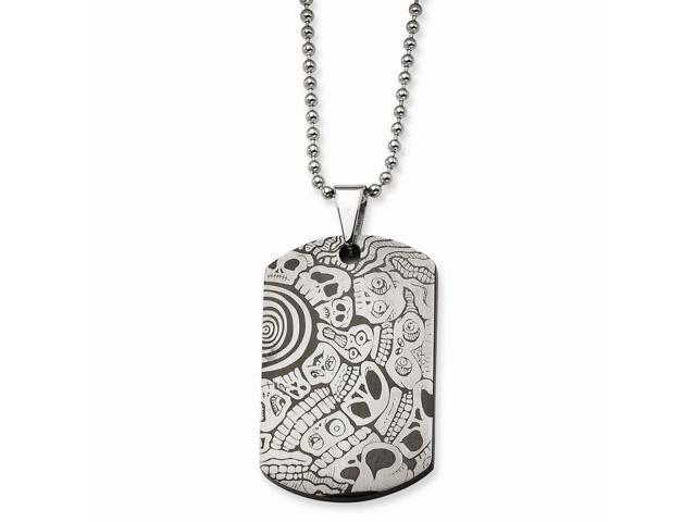 Stainless Steel Skulls Dog Tag Pendant 24 in. Necklace. 24in long.