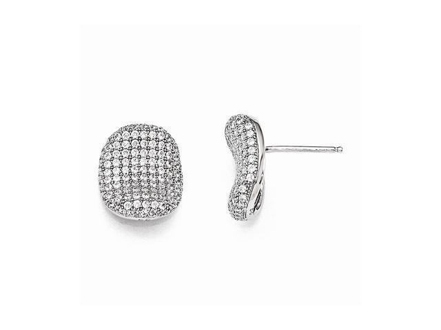 Sterling Silver Rhodium Plated & Synthetic CZ Brilliant Embers Polished Post Earrings (0.5IN x 0.4IN )