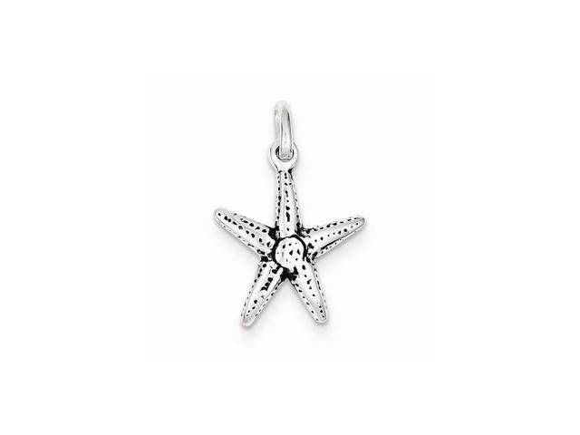 Sterling Silver Antiqued Starfish Charm (0.9IN long x 0.6IN wide)