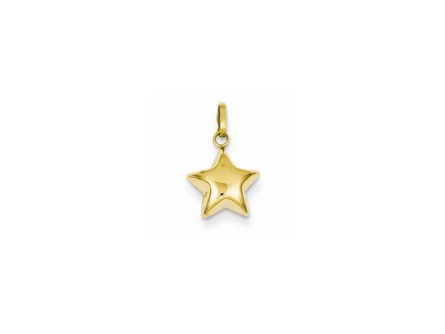 14k Yellow Gold Puffed Star Pendant