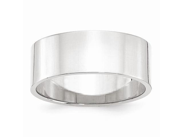 14k White Gold Engravable 8mm Flat Band