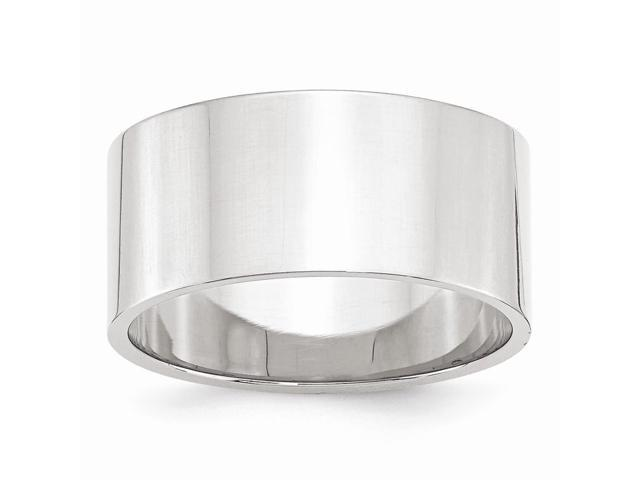 14k White Gold Engravable 10mm Flat Band