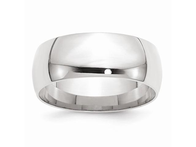 14k White Gold Engravable 8mm Comfort Fit Lightweight Band