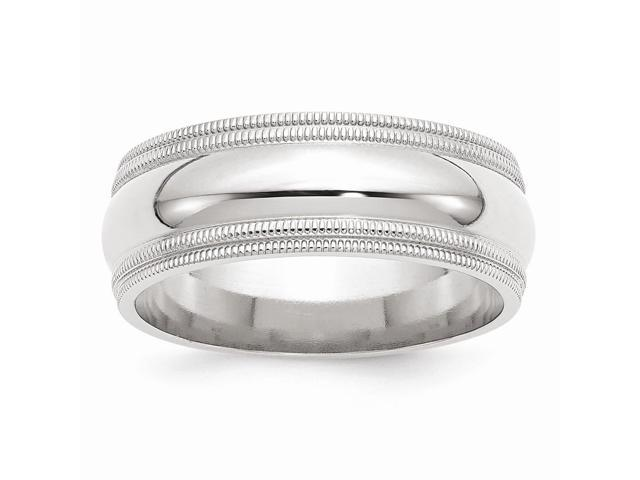 14k White Gold Engravable 8mm Double Milgrain Wedding Band