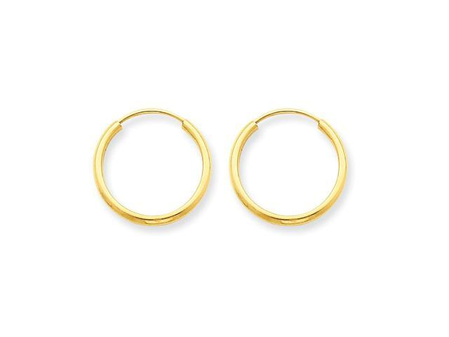 14k Yellow Gold 1.5mm Polished Round Endless Hoop Earrings Earrings (0.4IN Diameter)
