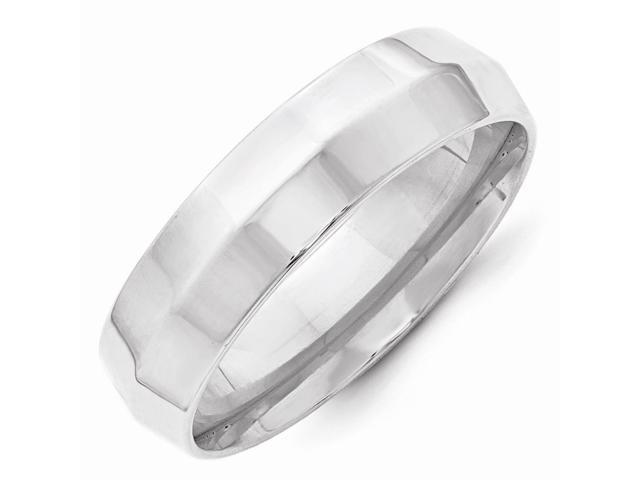 14k White Gold Engravable 6mm Knife Edge Wedding Band