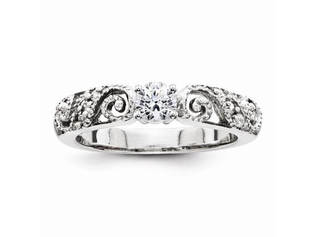 14K White Gold Fine Shiny Diamond Semi Mount Engagement Ring (Color H-I, Clarity SI2-I1)
