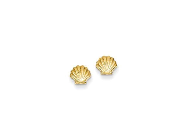 14k Yellow Gold Polished Shell Post Earrings (6MM)