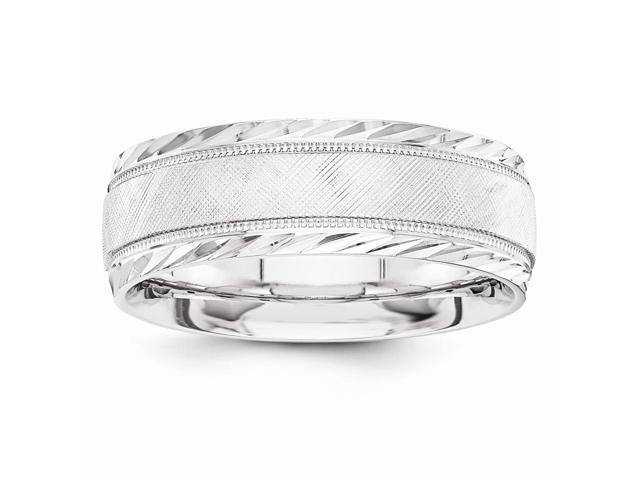 14k White Gold Engravable 7mm Design-Etched Wedding Band