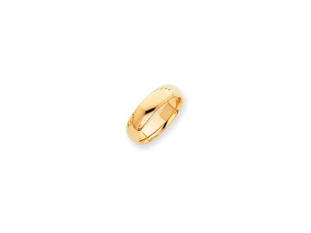 14k Yellow Gold Engravable 7mm Half-Round Comfort Fit Lightweight Band