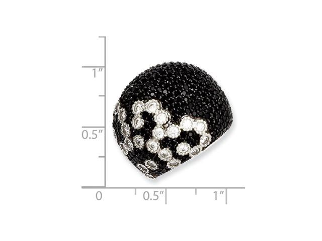 Sterling SIlver & Black Synthetic CZ Embers Ring