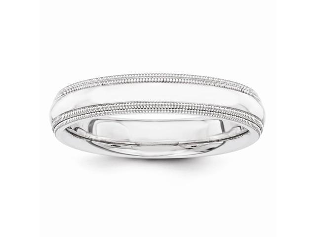 14k White Gold Engravable 4mm double milgrain wedding Band