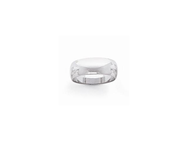 14k White Gold Engravable Polished 7mm Half-Round Featherweight Band