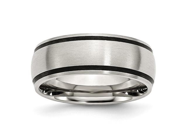 Stainless Steel Black Accent 8mm Satin Engravable Band