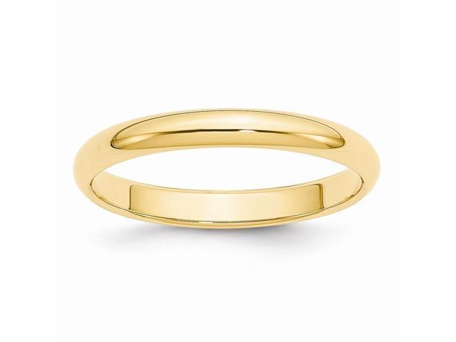 14k Yellow Gold Engravable 3mm Half-Round Wedding Band