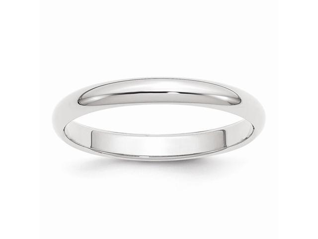 14k White Gold Engravable 3mm Half-Round Band