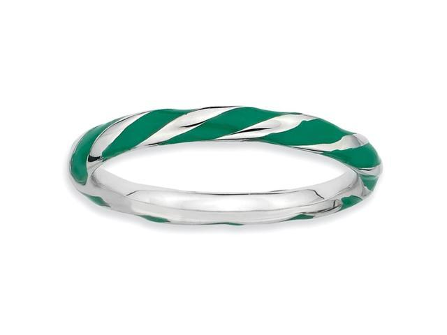 Glowing 925 Sterling Silver Rhodium Plated Twisted Green Enamel Stackable Band