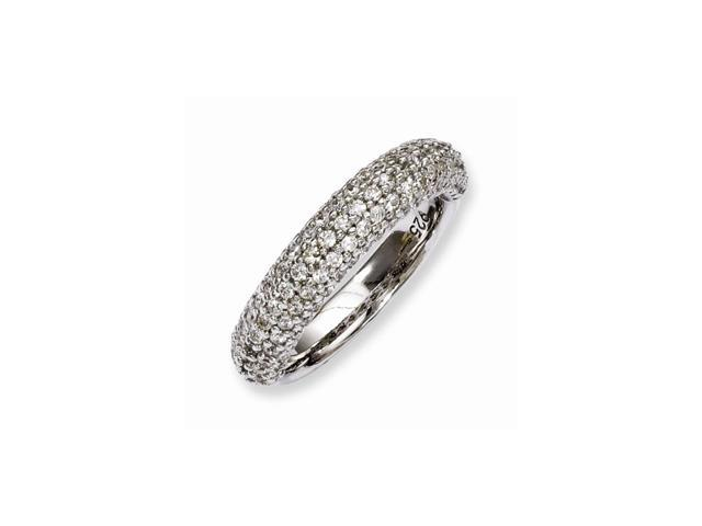 Sterling Silver Rhodium Plated with Synthetic CZ Ring
