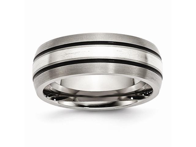 Titanium and 925 Sterling Silver Inlay Brushed with Antiquing 8mm Engravable Band.