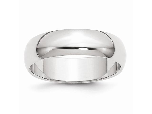 14k White Gold Engravable 6mm Half-Round Band