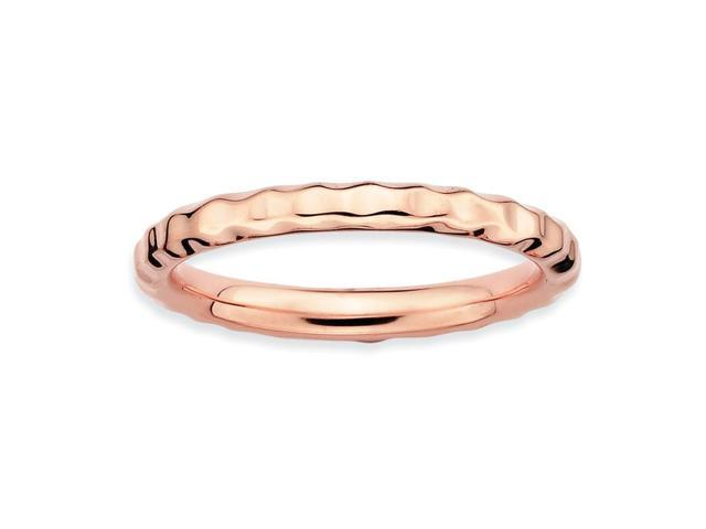 Unity Sterling Silver and 18k Rose Gold-Plated Stackable Pink Hammered Ring