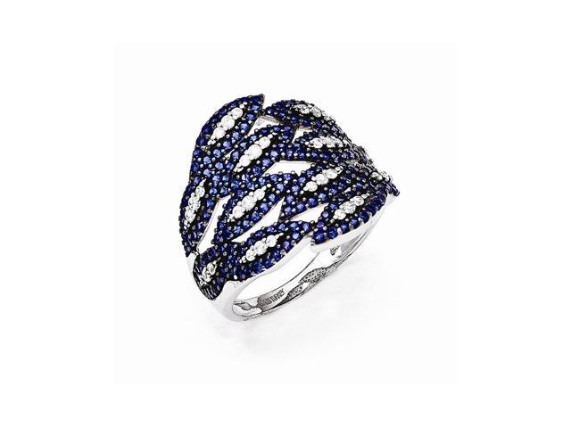 Sterling Silver Rhodium Plated White & Blue Synthetic CZ Embers Ring