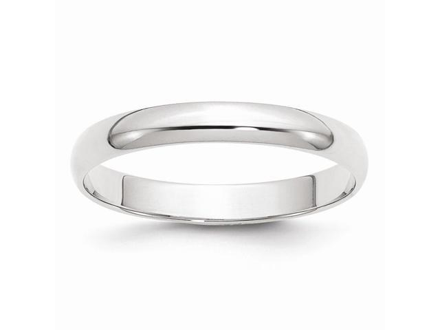 14k white Gold Polished 3mm Half-Round Featherweight Band