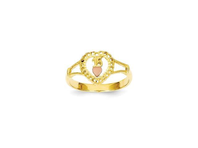 14K Two Tone Gold 15 Heart Ring