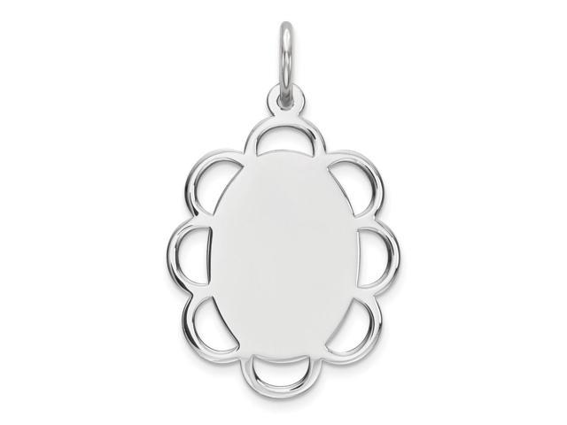 Sterling Silver Engraveable Disc Charm (0.7IN long x 0.6IN wide)