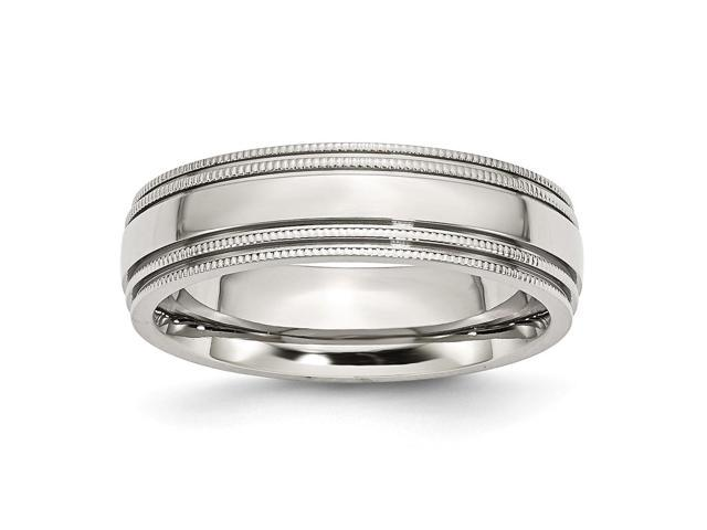 Stainless Steel Grooved and Beaded 6mm Polished Engravable Band