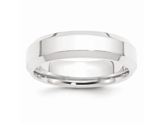 950 Platinum 6mm Polished Beveled Edge Wedding Engravable Band