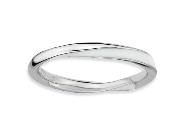 A Purity 925 Sterling Silver Rhodium Plated Twisted White Enamel Stackable Ring