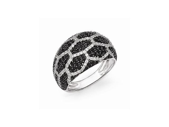 Sterling Silver Rhodium Plated White & Black Synthetic CZ Embers Ring