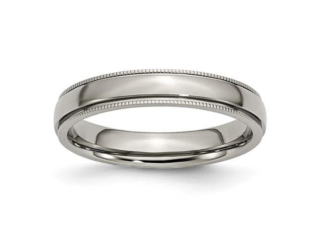 Titanium Grooved and Beaded 4mm Polished Engravable Band