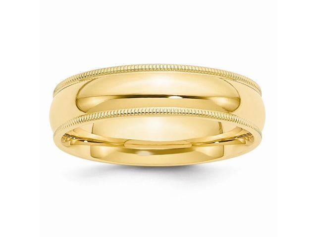 14k Yellow Gold Engravable 6mm Milgrain Comfort Wedding Band