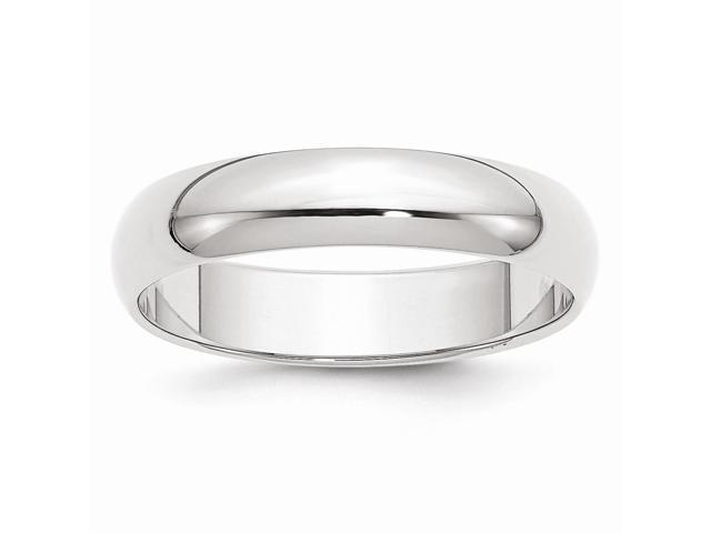 14k White Gold Engravable 5mm Half-Round Band
