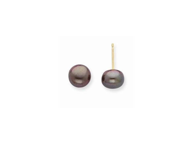 14k Yellow Gold 7-7.5mm Black Freshwater Cultured Pearl Button Pearl Stud Earrings.