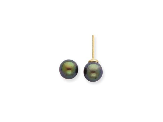 14k Yellow Gold 7-7.5mm Black Akoya Salt Water Cultured Pearl Stud Earrings.