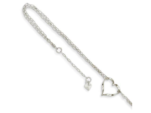 14k White Gold 9in Double Strand Heart Anklet