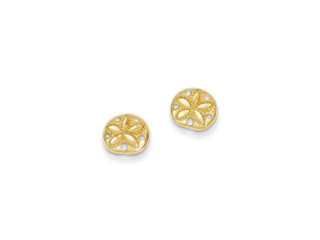 14k Yellow Gold D/C Sand Dollar Post Earrings (8MM)