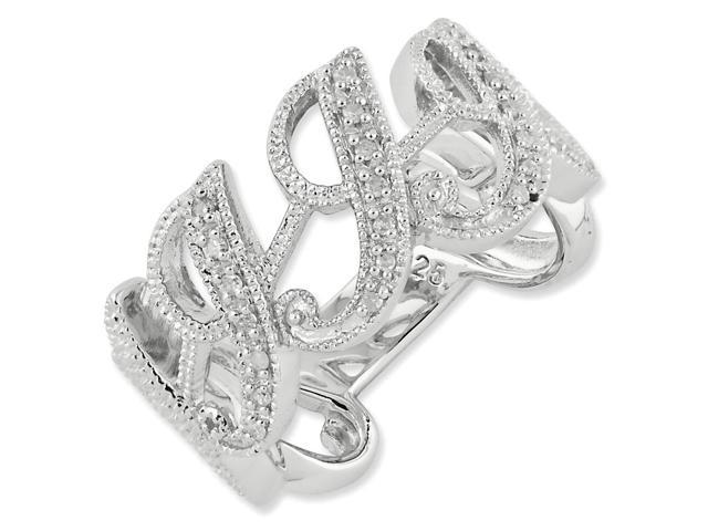 Sterling Silver Script Initial I Diamond Ring (Color H-I, Clarity SI2-I1)