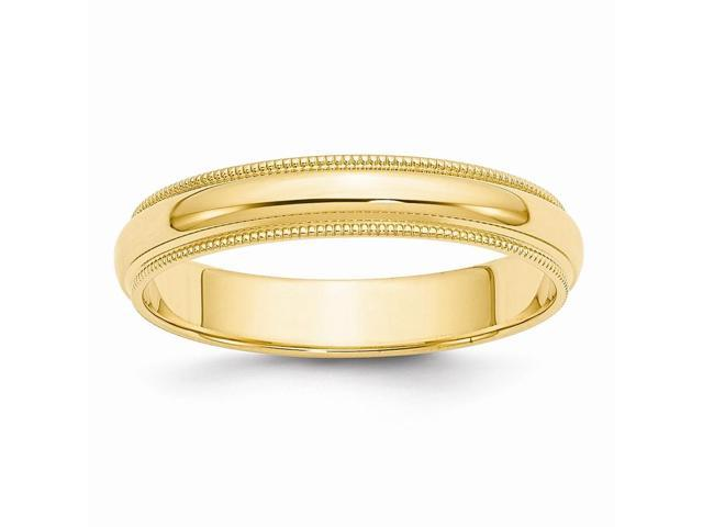 14k Yellow Gold Engravable 4mm Milgrain Half-Round Wedding Band